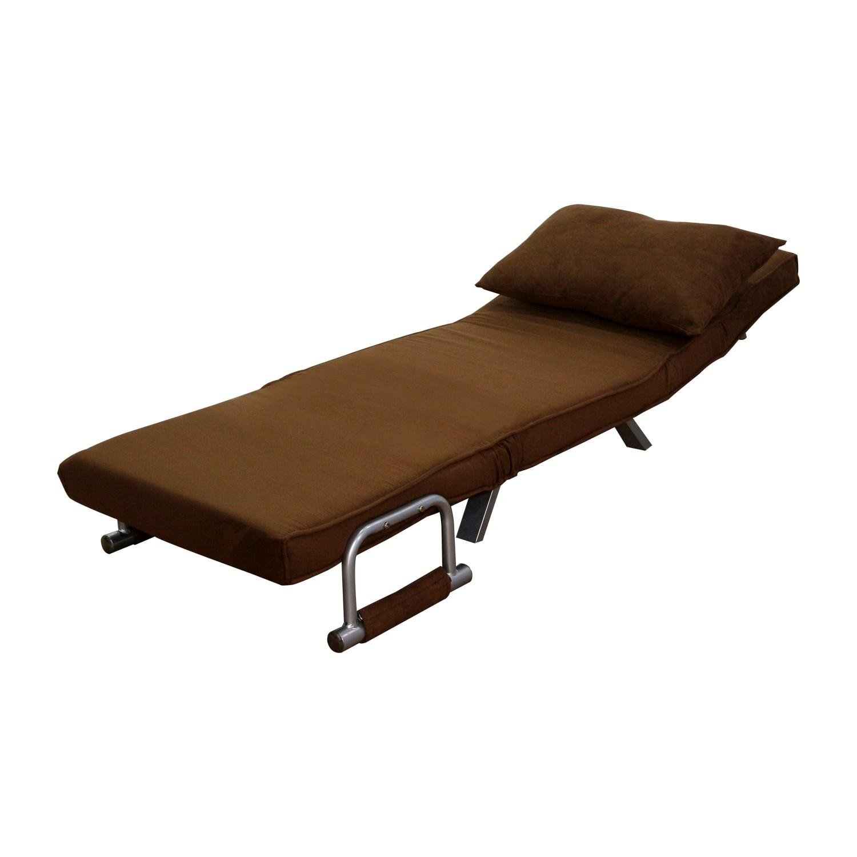 HomCom 26-inch Convertible Single Sleeper Chair Bed, Brow...