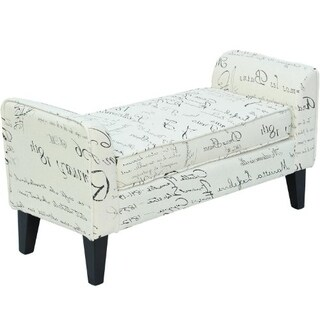HomCom White Linen 42-inch Signature Print Modern Armed Sofa Seat/Shoe Bench