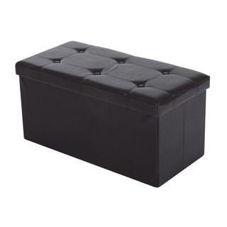 "HomCom 30"" Folding Tufted Storage Ottoman Bench"