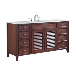Modetti Palm Beach Brown Wood Porcelain 60-inch Single-sink Bathroom Vanity With Marble Top