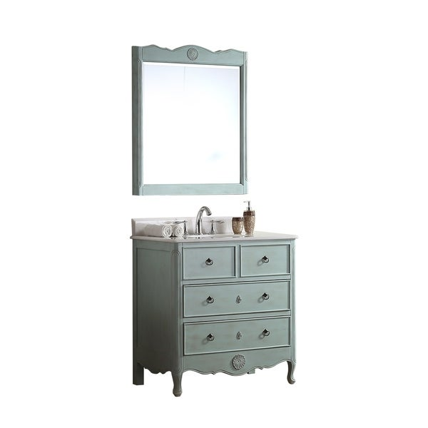 Modetti Provence 34 Inch Single Bathroom Vanity With Marble Top And Mirror