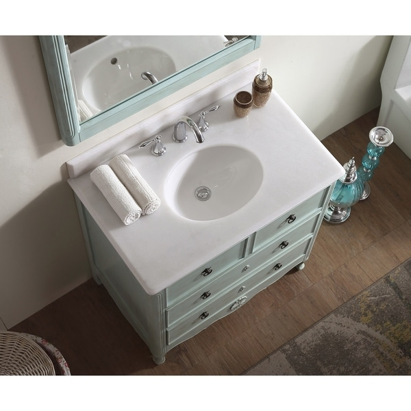 Modetti Provence 34 Inch Single Bathroom Vanity With Marble Top And Mirror Free Shipping Today 24145039