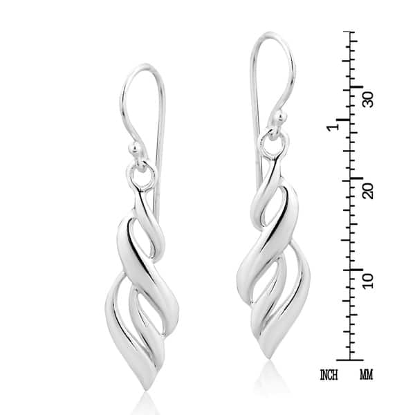 Twisted Teardrops Dangle Earrings 925 Silver 1 Pair