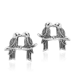 Romantic Pair of Love Birds .925 Sterling Silver Stud Earrings (Thailand)