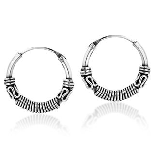 Balinese Interlace Tribal Delicate Sterling Silver Hoop Earrings