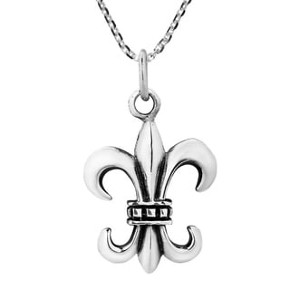 30mm Awesome Fleur-de-Lis Sterling Silver Necklace (Thailand)