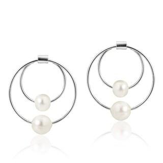 Charming White Pearl Dual Hoops Sterling Silver Post Earrings