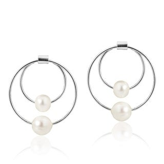 Charming White Pearl Dual Hoops Sterling Silver Post Earrings