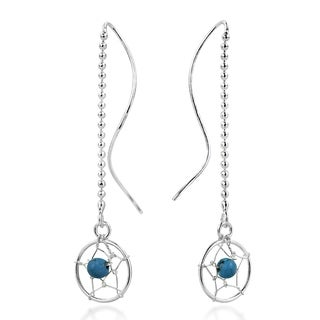 Dreamcatcher Bead Turquoise Thread Slide Sterling Silver Earrings