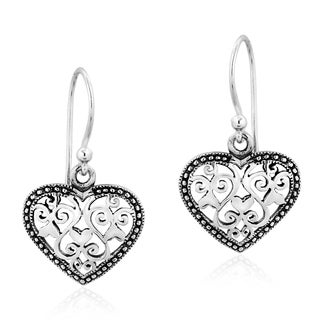 Vintage Framed Heart Swirls .925 Sterling Silver Dangle Earrings
