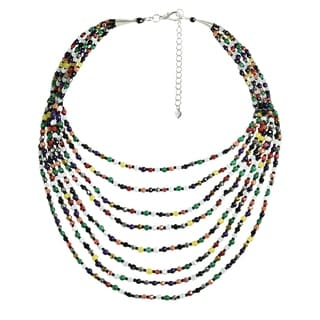 Emanation Mix Color Crystals Multistrand Statement Necklace (Thailand)