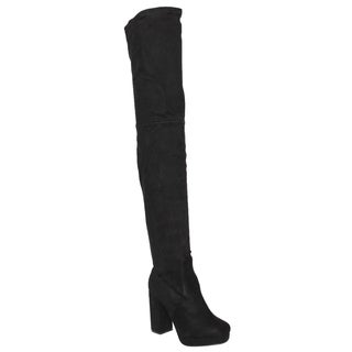 Beston EJ51 Women's Side Zip Platform Chunky Heel Over The Knee Thigh High Boots