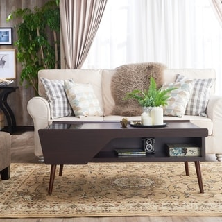 Furniture of America Kald Modern Espresso Glass Storage Coffee Table