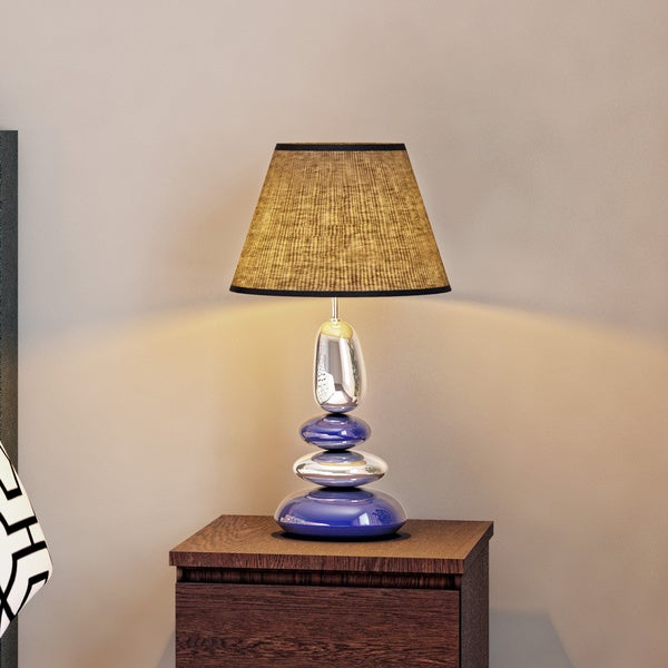 Porch & Den Delano Exposition Stacked Chrome and Metallic Blue Stones Ceramic Table Lamp
