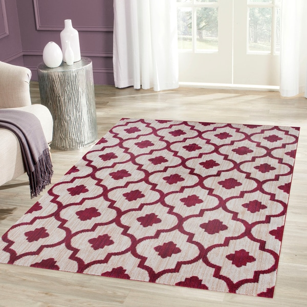 Porch & Den Marigny Royal Trellis Red Soft Area Rug - 7'10 x 10'2