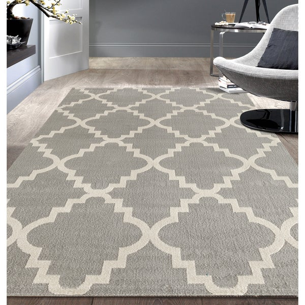 Porch & Den Marigny Music Trellis Grey Area Rug - 7'6 x 9'5