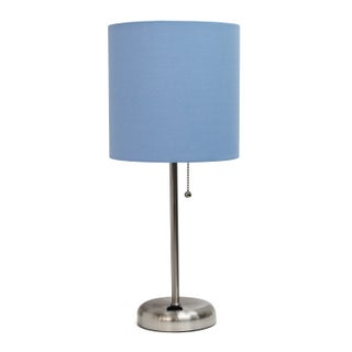 Porch & Den Delano Custer Purple and Silvertone Metal/ Fabric Lamp with Charging Outlet (2 options available)