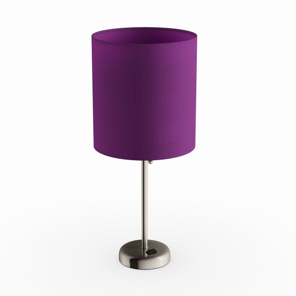 Porch & Den Custer Purple and Silvertone Metal/ Fabric Lamp with Charging Outlet