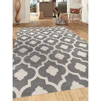 Porch & Den Marigny Royal Trellis Grey Indoor Area Rug (9' x 12')