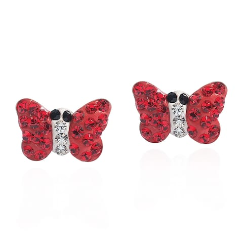 Handmade Butterfly Vibrant Crystal .925 Silver Stud Earrings (Thailand)