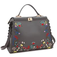 Dasein Embroidered Flower Design and Double Twist Lock Closure Hobo Handbag