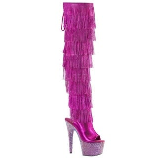 PLEASER BEJEWELED-3019RSF-7 Women's Rhinestone Fringe Open Heel Thigh High Boots