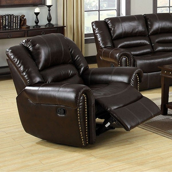 Dudhop Transitional Style Dark Brown Recliner