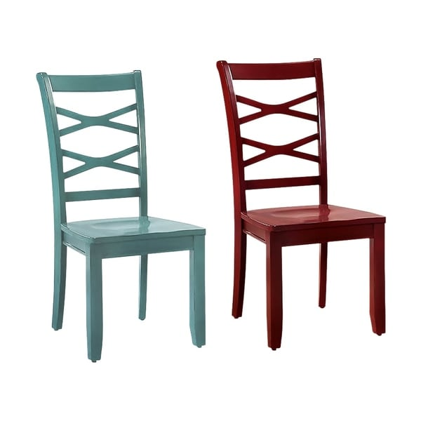 Giselle Transitional Side Chair Set Of 2, Red & Blue