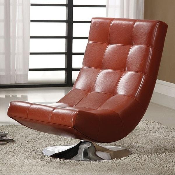 Trinidad Contemporary Swivel Chair, Mahogany Red