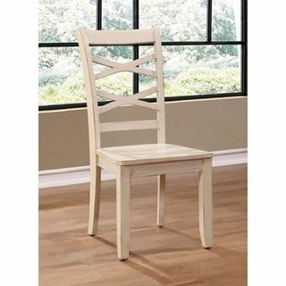 Benzara Giselle Transitional White Wood Side Chairs (Set of 2)