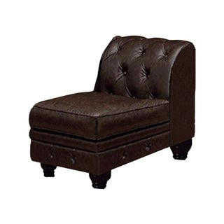 Benzara Stanford Ii Brown Sofa Chair With Nailhead Trim