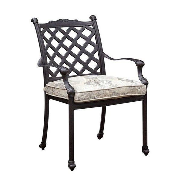 Contemporary Metal Arm Chair with Removable Fabric Cushion, Pack of Four, Black and White
