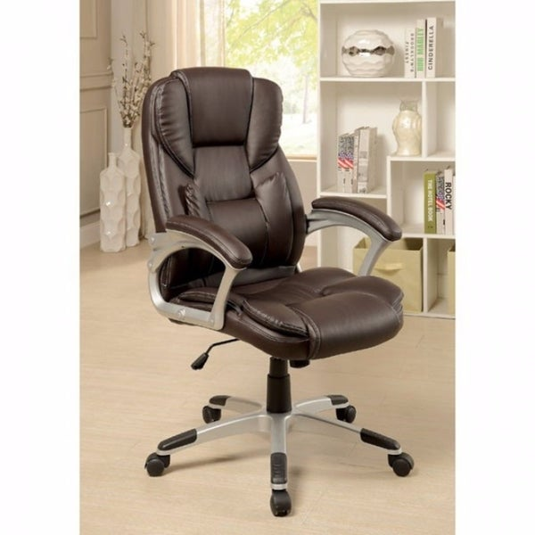 Sibley Contemporary Office Chair, Brown Finish
