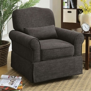 LESLY Transitional 360 Swivel & Rocker Chair, Dark Gray