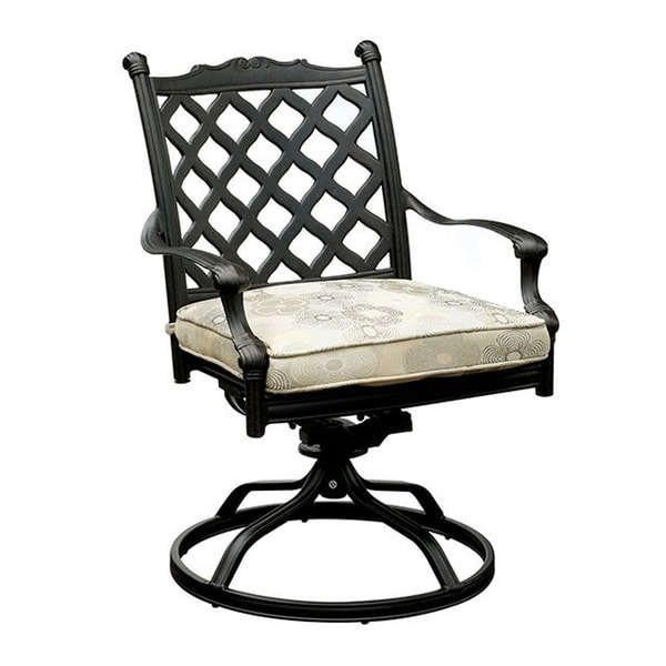 Metal Swivel Rocker Chair with Removable Fabric Cushion, Pack of Two, Black and White