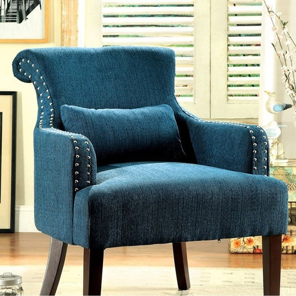 Shop Agalva Contemporary Accent Chair With Dark Teal Color Fabric