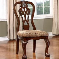 Elana Side Chair With fabric, Brown Cherry Finish, Set of 2