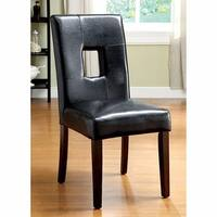 Lisbon I  Side Chair With Espresso Leatherette, Set Of 2