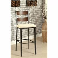 Jazlyn II Industrial Bar Chair In Ivory Flax Fabric Set of 2