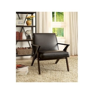 Benzara Dubois Brown Finish Wood Leather Contemporary Chair