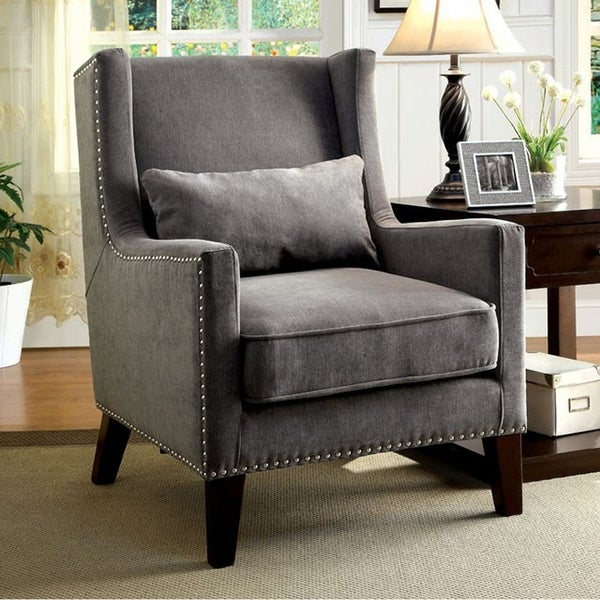 Tomar Transitional Accent Chair With Gray Color