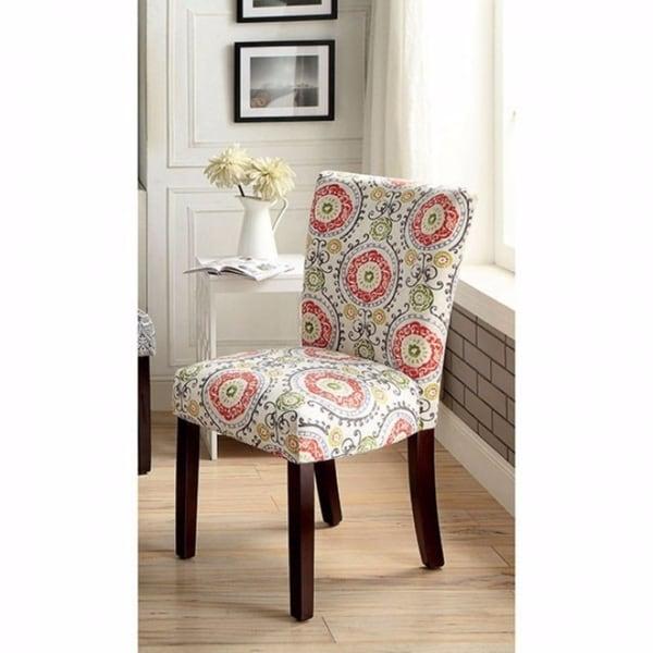 Prue Contemporary Side Chair, Orange Aboriginal Pattern, Set of 2
