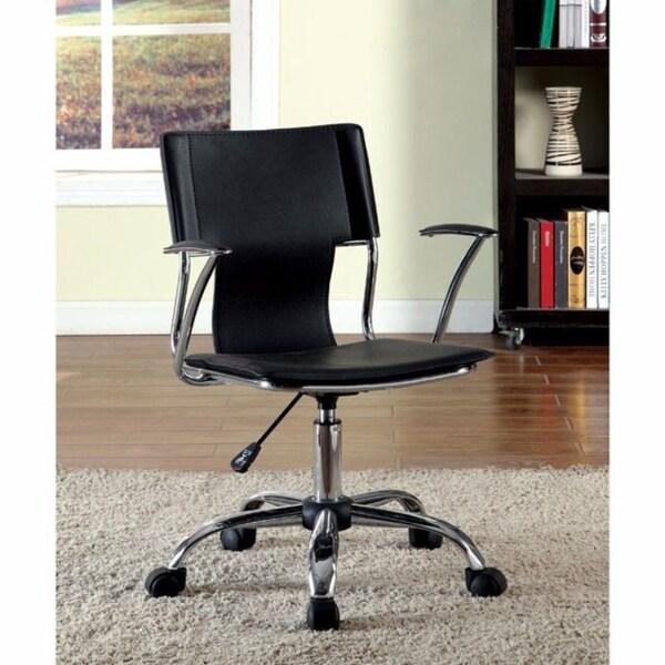 Zemin Contemporary Pvc Office Chair, Black Finish