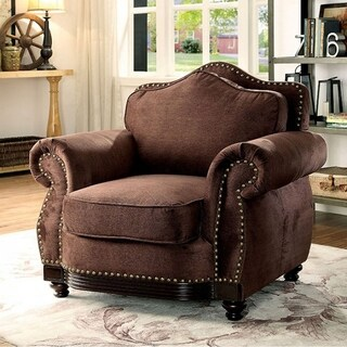 Hetty Transitional Single Chair, Brown Finish