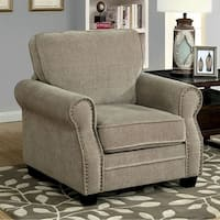 Lynne Transitional Chair, Brown Finish