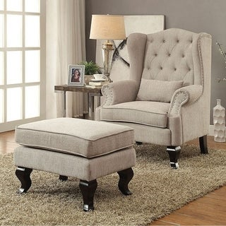 Willow Traditional Leisure Chair With 1Pcs Pillow, Beige Finish