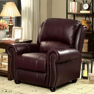 Benzara Turton Burgundy Leather Armchair