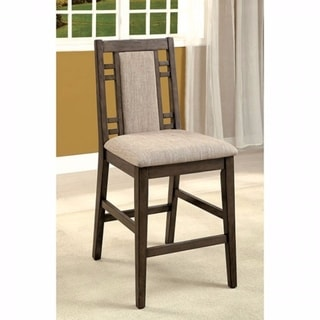 Eris II Transitional Counter Height Chair With Fabric, Gray , Set of 2