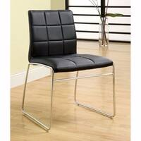 Oahu Contemporary Side Chair With Steel Tube, Black Finish, Set of 2