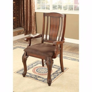 Johannesburg I Traditional Arm Chair, Brown Cherry, Set Of 2